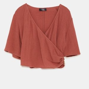 2/$40 Zara Waffle Knit Crossover Wrap Cropped Top